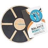 FitForward Balance Board – hochwertiger Therapiekreisel aus Holz – Balancetrainer für Rehab und Physiotherapie – inklusive Trainingsheft