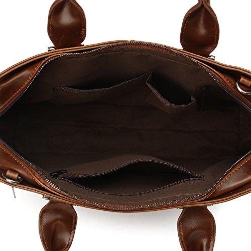 OURBAG Impermeabile pelle sintetica 14'' Borsa del portatile ventiquattrore Borsa del messaggero Nero caffè