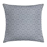 Grey Decor Throw Pillow Cushion Cover by, Medieval Decor Style Bean Shaped Ellipse Focal Special Type of Repeating Cone Motifs, Decorative Square Accent Pillow Case, 18 X 18 inches, Iron