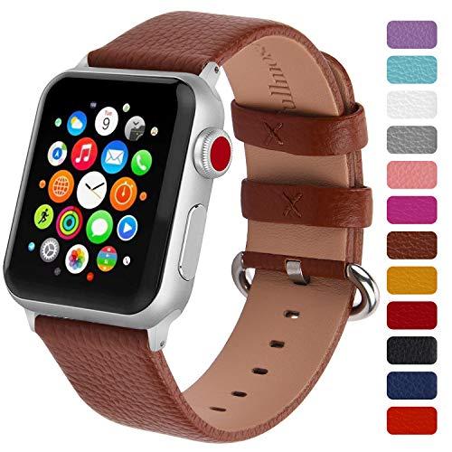 Fullmosa Klassische Litichi Leder Watch Armband Kompatibel für Apple Watch Series 5/4/3/2/1, 12 Farben iWatch Armband für Männer und Frauen mit Edelstahlschliesse 42mm, Braun