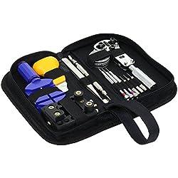 niceeshop(TM) Uhr Reparatur Werkzeug Set mit Tragetasche,Schwarz