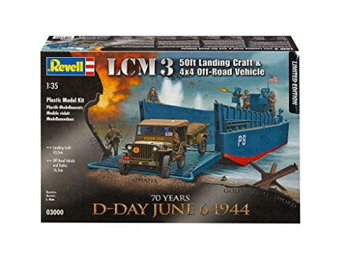 Revell Modellbau 03000 - D-Day Set LCM3 und 4 x 4 Off Road Versandklasse im Maßstab 1:35