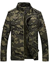 09e6dc23dfc1 YuanDian Herren Herbst Winter Casual Militär Camouflage Dick Pilotenjacke  Stehkragen Mehrfachtasche Stickerei Cargo Jacken Mantel