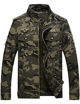 YuanDian Hombre Otoño Casual Militar Estilo Camuflaje Cargo Chaqueta Collar del Soporte Bordado Insignia Multibolsa...