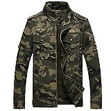 YuanDian Herren Herbst Winter Casual Militär Camouflage Dick Pilotenjacke Stehkragen Mehrfachtasche Stickerei Cargo Jacken Mantel Armee Grün Tarnung XL