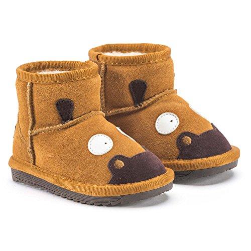 Snugs Boots Kinderstiefel aus Lammfell und Wild-Leder Stiefel für Kinder Jungen und Mädchen Lammfellschuhe, Hellbraun, 24