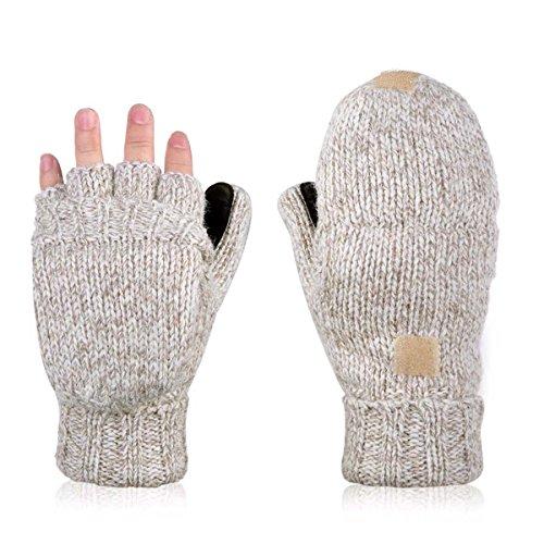 AOKAY Winter Handschuhe Fingerlose Fäustlinge Damen Fingerhandschuhe Fingerlos Handschuhe Strick Handschuhe mit Flip Top (Vintage-Beige)