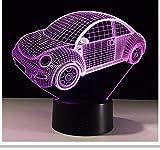 7 colores visual modelo de coche 3d led nightlight para niños s toque interruptor usb mesa lampara lampe bebé sueño caja de luz de iluminación del regalo del día de los niños