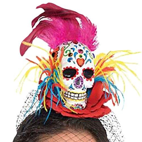 Halloweenia - Kostüm Karneval Haarreif Day of the Dead Sugar Skull, Mehrfarbig