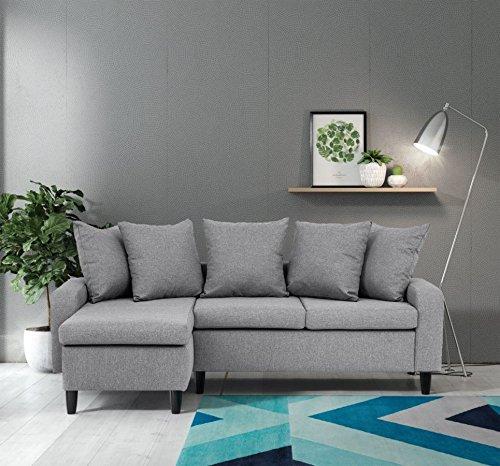 Divano angolare modello napoli grigio chiaro angolo sinistro grey