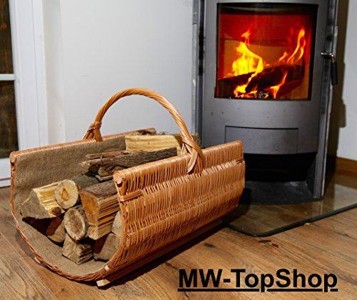 *Spitzen Qualität Kaminkorb Berlin 60cm mit Stoffeinlage und Henkel Brennholzkorb Kaminholzkorb*