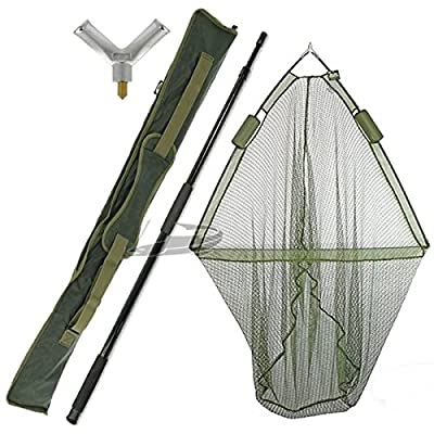 "42"" CARP FISHING LANDING NET DUAL NET FLOAT with HANDLE DELUXE GREEN STINK BAG by NGT"