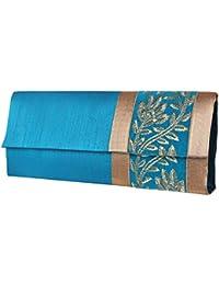 Mela Golden Embroidered Exclusive, Designer,Elegant Women`s Clutch - Peacock Blue
