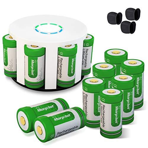 Arlo Akkus, morpilot Wiederaufladbare 3.7V 700mAh Li-ion Arlo Batterien, mit Batterie Gehäuse und 2 Silikon Hüllen für Arlo Überwachungskamera VMC3030/3230/3330/3430, Grün (8 Stücke)