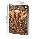 XUAN Small Vintage Leather Notebook A6, Hardcover Journal Diary Pocket Size Lined-Blank Page Embossed Notepad Writing Valentines Birthday Anniversary Gift for Men Women Kid Boys Girls Mum 3D Elephant
