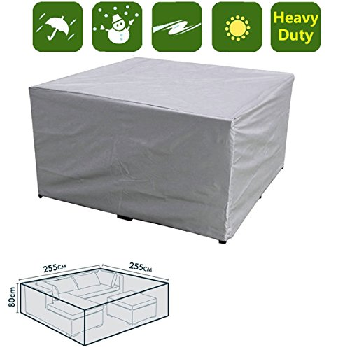 dDanke Waterproof Patio Set Cover Outdoor Garden Furniture Cover Large Waterproof Bench Table Cover 255x255x80cm (Silver…