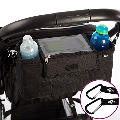 Organisateur BTR pour landau ou poussette, sac de rangement pour poussette, housse à rabat étanche exclusive pour téléphone portable, housse de pluie. Plus 2clips de poussette gratuits. Un accessoire incontournable pour landau et poussette.