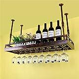 xczdf Portabottiglie da soffitto Portabottiglie da vino in ferro Porta bicchieri Calici Portabottiglie Bar Espositore - Varie,Bronzo,L60 * W35cm