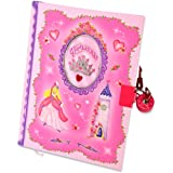 Hot Pink Princess Kids Secret Diary (Lockable Diary With Padlock & Keys) Kids Diary with Glittery Cover - Lucy Locket