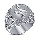 Vorra Fashion Pisces Zodiac Ring For Men's 925 Sterling Silver White Platinum Plated White CZ Round Cut (11.5)