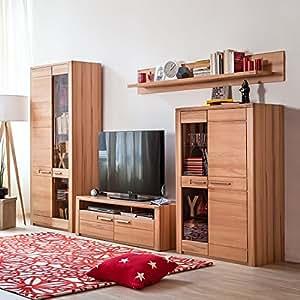 wohnwand kernbuche teilmassiv k che haushalt. Black Bedroom Furniture Sets. Home Design Ideas