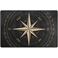 Bennigiry Kompass Bereich Teppich Teppich Rutschfeste Eintrag Bodenmatte Fu/ßmatten f/ür Wohnzimmer Schlafzimmer 78,7 x 50,8 cm