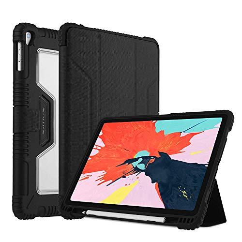 Nillkin Flip Lederhülle Compatible für iPad Pro 11 Zoll 2018, Full Body Ultra Slim Schutzhülle Stoßfeste Hülle mit Apple Stifthalter und Auto Schlaf/Wach Funktion Compatible für iPad Pro 11 -