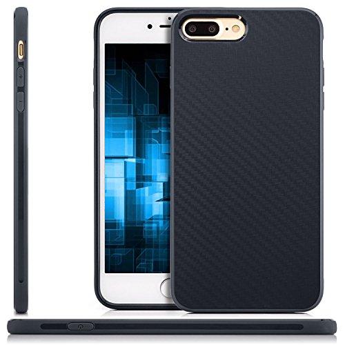 Coque iPhone 7 Plus Case Silicone Cover Carbon Design Housse en TPU Mince Protecteur Bumper et pare-chocs pour la Protection Apple iPhone 7 Plus 5.5 pouces - Noir Bleu foncé