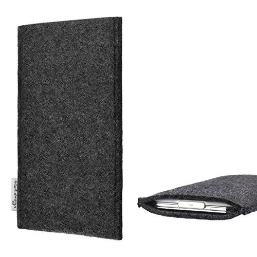 flat.design für Huawei P20 Pro Dual-SIM Handytasche Porto im Slim fit Design (anthrazit) handgefertigte Smartphone-Tasche aus Filz für Huawei P20 Pro Dual-SIM Handy Schutz Hülle Made in Germany