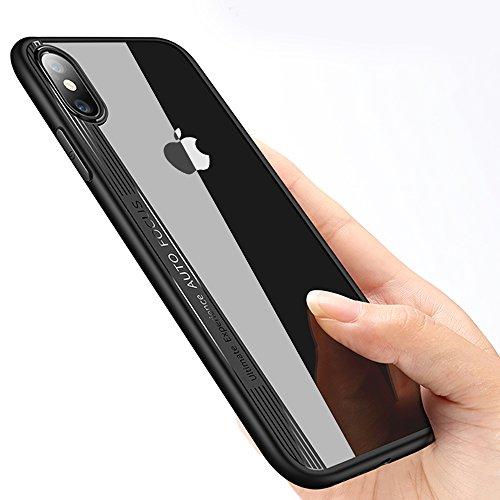 iPhone X Silikon Hülle, innislink Schutzhülle iPhone X Handyhülle Crystal Acryl PC Rückschale mit weich Silikon Kratzfest Stoßfest Durchsichtig Schwarz Dünn Bumper Case Cover für iPhone X Soft Hüllen