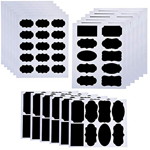 (IRICH 260 Stück Selbstklebend Tafel-Sticker, Wiederverwendbar PVC Tafelaufkleber für DIY Gläser Gewürzgläser Flaschen Organisieren Lebensmittel (Schwarz, 3 Unterschiedlichster Größe))