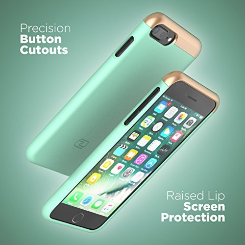 "iPhone 7 Plus Case [custom-fit] Encased SlimShield RS2 [smooth-finish] Hybrid Slider Cover (for Apple iPhone 7Plus 5.5"") (Smooth Black) Mint Green"