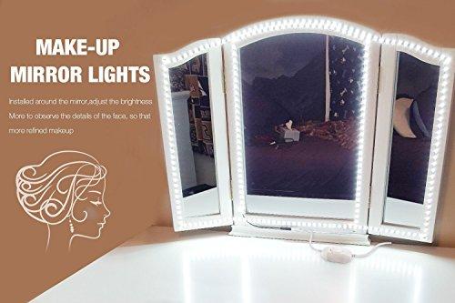 Led Spiegelleuchte,Led Eitelkeits Licht Streifen 4M/13Ft 6000K Tageslicht Dimmbar für Schminkspiegel.Make-up Licht,Schminklicht,Spiegel Nicht Inbegriffen - 8