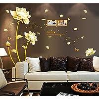 ufengke® - Pegatina de pared, flor de peonía, con marco de fotos, para dormitorio, adhesivo de quita y pon, decoración mural