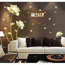 ufengke® Bella Peonia Fiori Farfalle Photo Frame Adesivi Murali, Camera da Letto Soggiorno Adesivi da Parete Removibili/Stickers Murali/Decorazione Murale
