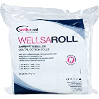 wellsamed wellsaroll Zahnwatterollen Größe 2 (~ 10 mm), 300g Dental Watterollen, Verbandwatte aus 100% Baumwolle, Cotton Rolls hochweiß