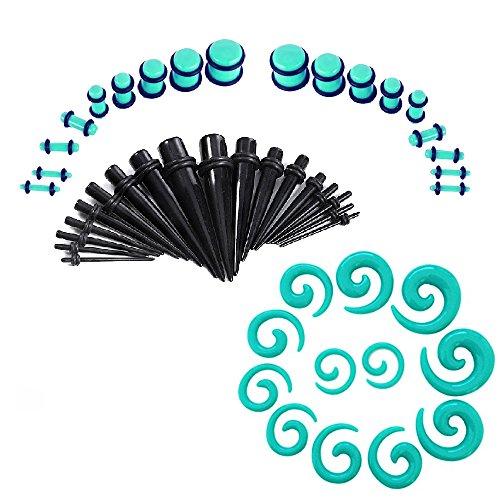 BodyJewelryonline Erwachsenen Acryl Ohr dehnen Kit mit Spirale verjüngt sich & Stecker Set 54pc Messgeräte 14g - 00g (Verjüngt Ohr Und Messgeräte)