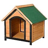 PawHut Caseta de Madera Maciza para Perro Casa de Perro Impermeable con Patas Elevadas para Interior y Exterior 72x76x76cm