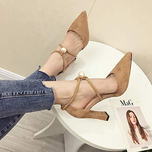 Lnyy Europäische und amerikanische High-Heels aus Wildleder mit flachem Mund und weisem Gürtel aus Perlen-High-Heels für Sommerfraue -