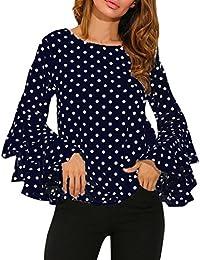 02ecc2c166 Zarupeng-Blusa Lunares Mujer Gasa de Campana Camisa Suelta del Lunar  Señoras Casual Blusa Tops
