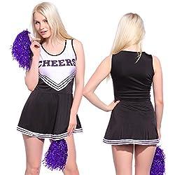 Anladia - Disfraz de Animadora Cheerleader para Adulta Mujer Mini Vestido sin Mangas con Letras ¨Cheers¨ Color Negro con Blanco Talla 36 38 40 42 44 (S (38))
