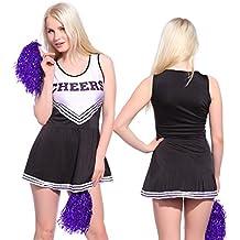 Anladia - Disfraz de animadora Cheerleader para adulta Mujer Mini Vestido sin Mangas con Letras ¨