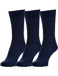 Hans Executive Crew Socks for Men (Pack of 3) (c3+blu)