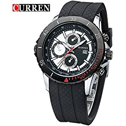 CURREN Business Men's Calendar Waterproof Genuine Rubber Strap Wrist Watch 8143G
