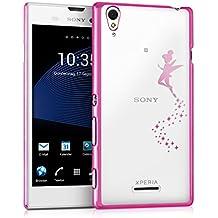 kwmobile Elegante y ligera funda Crystal Case Diseño hada para Sony Xperia T3 Style en rosa fucsia transparente