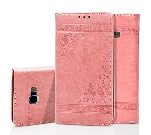 Roreikes Handyhülle Samsung Galaxy A5 2016(5.2 Zoll) Tasche Leder Flip Case Brieftasche Etui Schutzhülle Silikon Handyhalter Lederhülle für Samsung A5 2016 Hülle (Rosa)