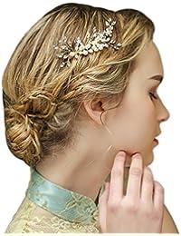 YAZILIND Tocado Belleza de la Mujer Nupcial de la Boda Broche de Pelo de  Fiesta de la Flor de aleaci¨®n de Las… 8f55e604d03c