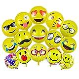 Emoji Party Luftballons,BCMRUN Packung von 36 18 Zoll Folie Helium Ballons Wiederverwendbare gelbe Lustige Gesichter Ballons für alles Gute zum Geburtstag Hochzeiten Party Jubiläumsbedarf Dekorationen