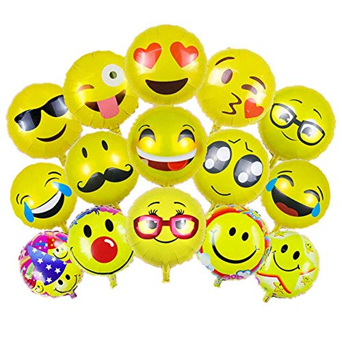 Emoji Party BalloonsBCMRUN Pack Of 36 18 Inches Foil Helium Balloons Reusable Yellow Funny