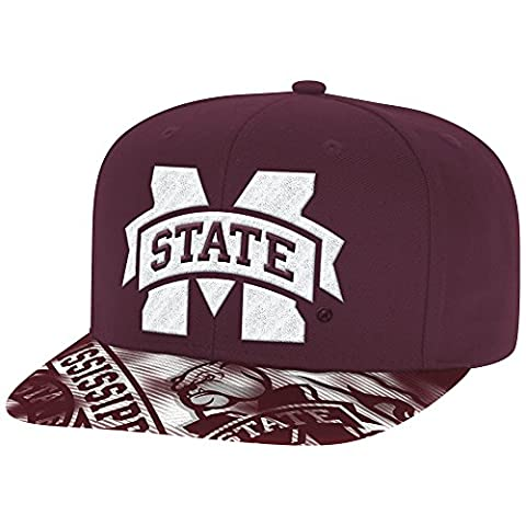 NCAA Mississippi State Bulldogs Men's Snapback Cap with Sublimated Visor, One Size, Maroon